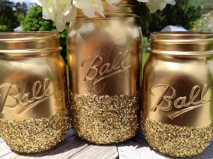 Goldene Mason Jars für Wedding Centerpiece Vases Onewed Com