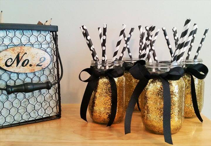Mason Jars, Wedding Centerpiece, Gold Wedding Decor, Birthday Party Decor, Black and Gold, Graduation Party Decor, Home Decor