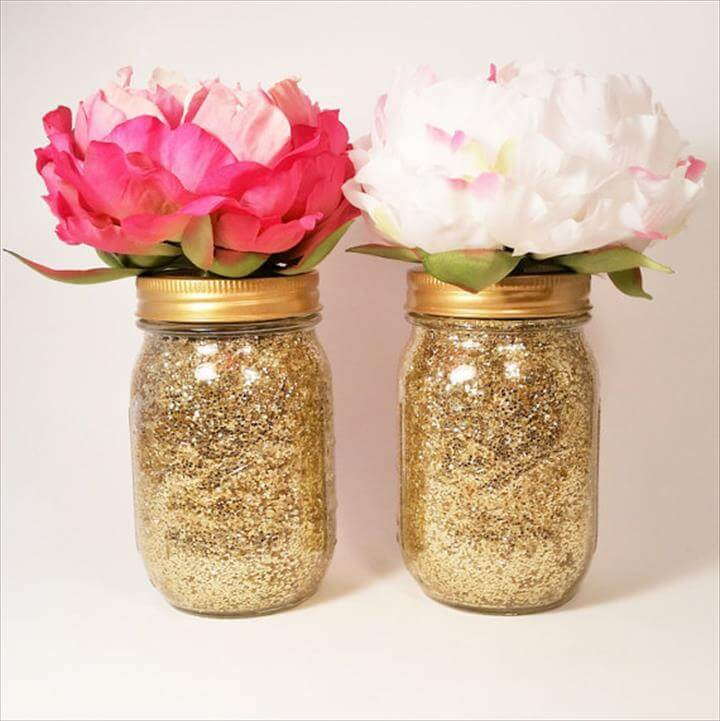 Gold glitter mason jar centerpieces
