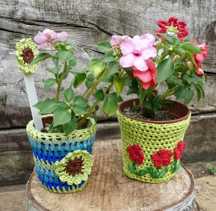amazing crochet flower pot covers
