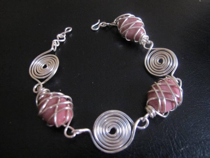 Silver wire wrapped bracelet with pink rhodonite stones and spirals, link bracelet, beaded bracelet