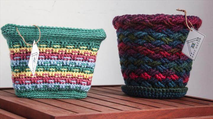 Hand Knitted Colorful Flower Pot