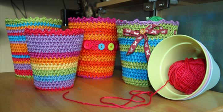 colorful crochet flower pots cover