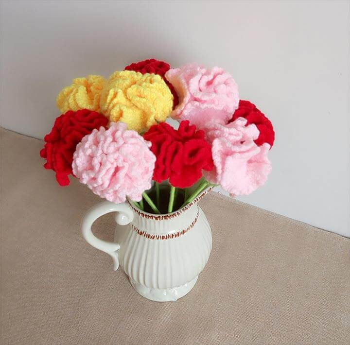 New Handmade DIY Crochet Carnation Red Pink Color Room Decorative Artificial Flower