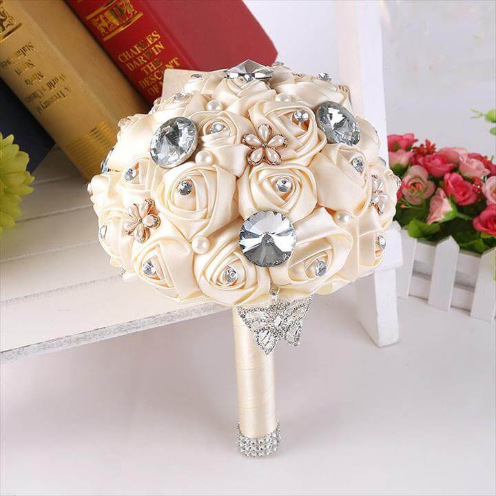 Handmade Diy Flowers Pearls Silk Rose Bridal Wedding Bride Bouquet Brooch Home Party