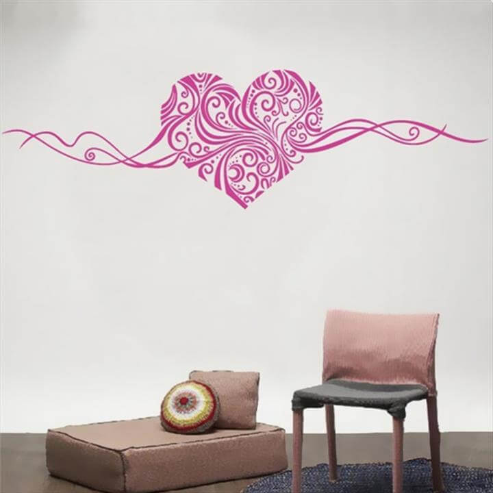 PVC Romantic Design Heart Shape Cirrus Sticker DIY Decal on the Window Glass