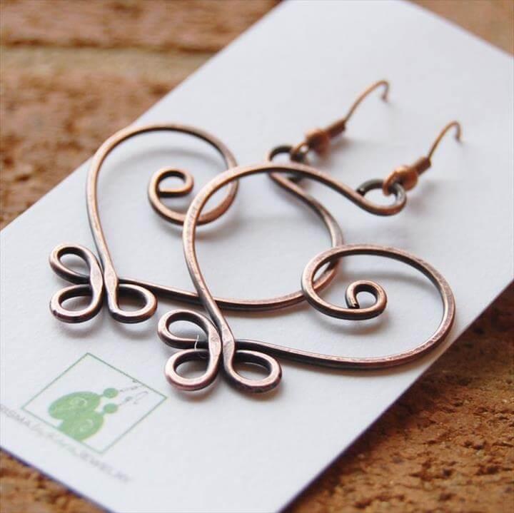 Copper earrings Large Celtic Heart Wire