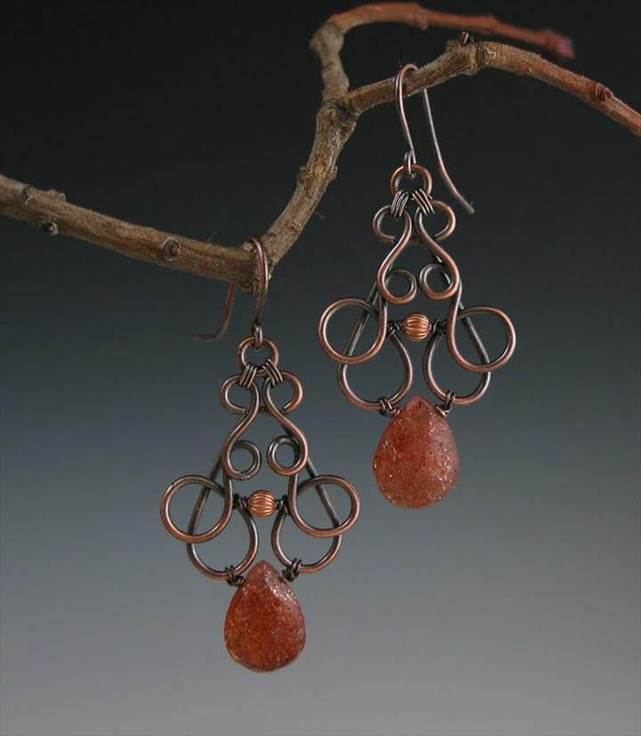 Copper and Sunstone Scroll Earrings