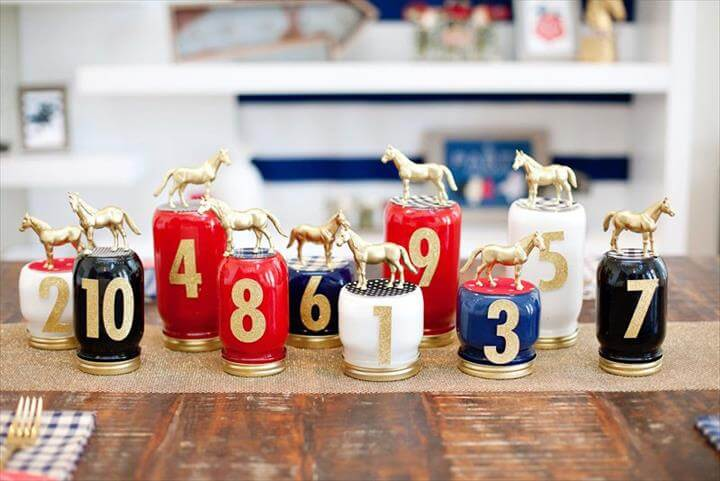 Race Horse Mason Jar Centerpiece