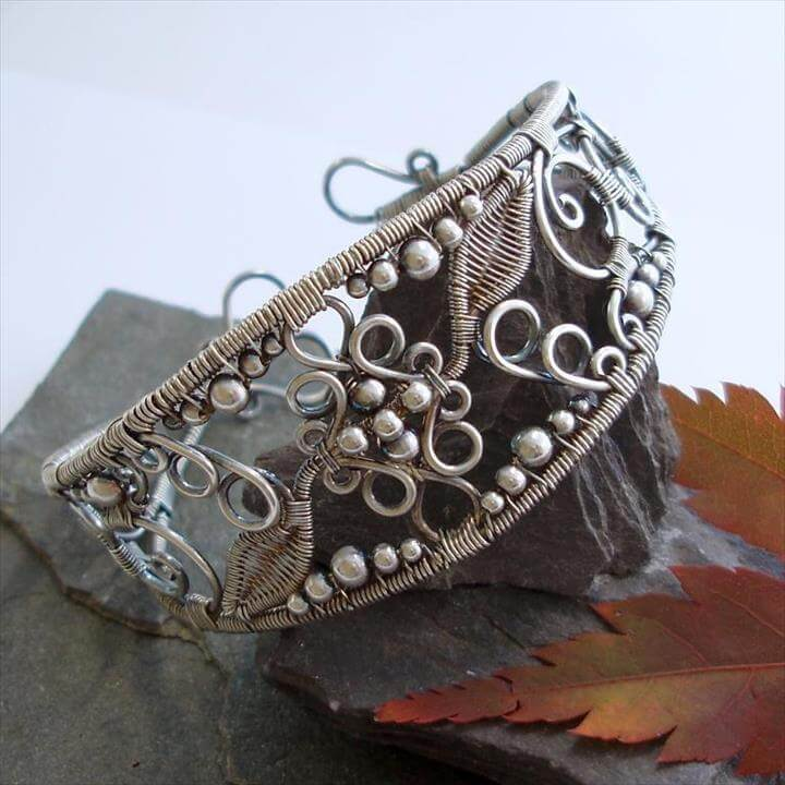 Lace - Filigree Inspired cuff - Silver