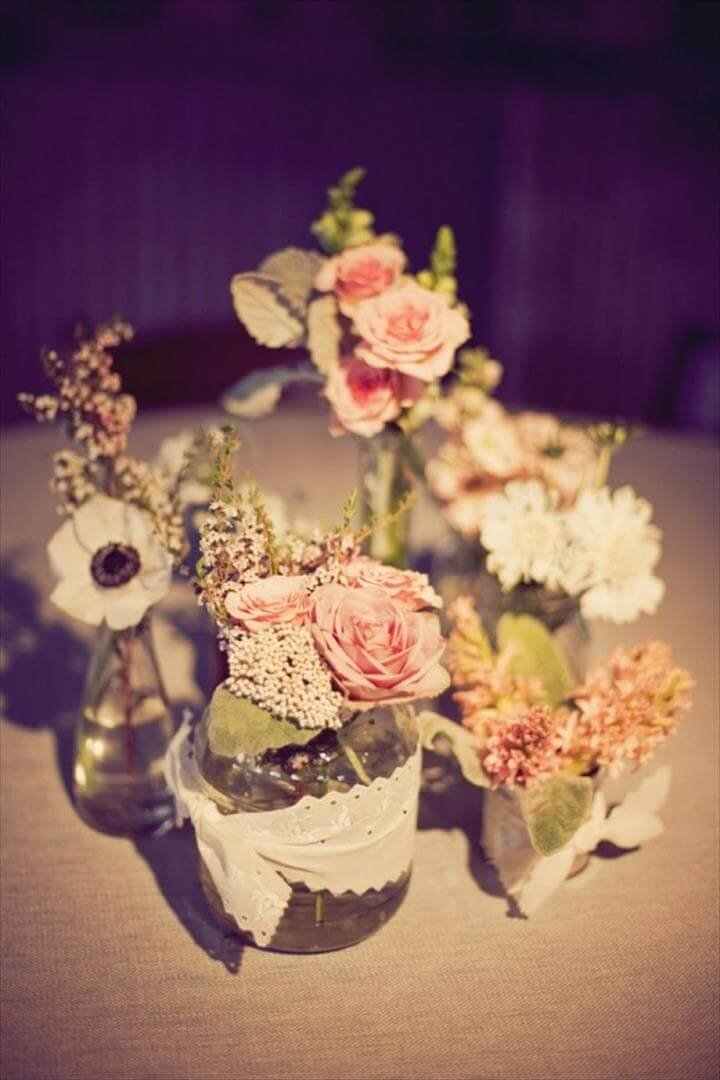 Lace-Wrapped Mason Jar Centerpiece