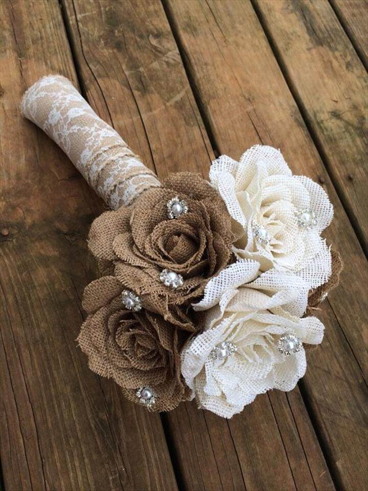 Large Burlap Bouquet - Shabby Chic Wedding - Rustic Wedding - Rustic Bouquet - Wedding Burlap Bouquet - Rustic Wedding Bouquet - Bouquet