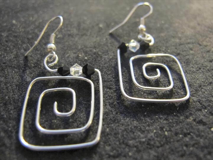 Silver wire wrapped square earrings with black and clear Swarovski crystals