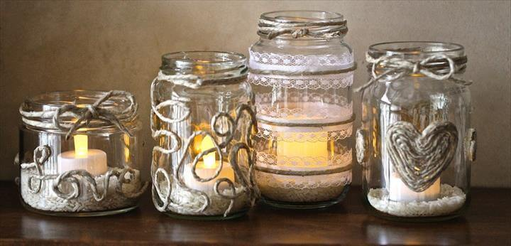 easy DIY mason jar candle holder wedding centerpieces ideas