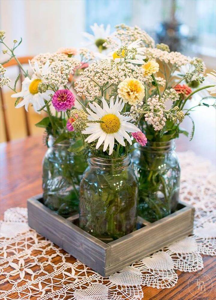 diy mason jar centerpiece tray, home decor, mason jars, woodworking projects