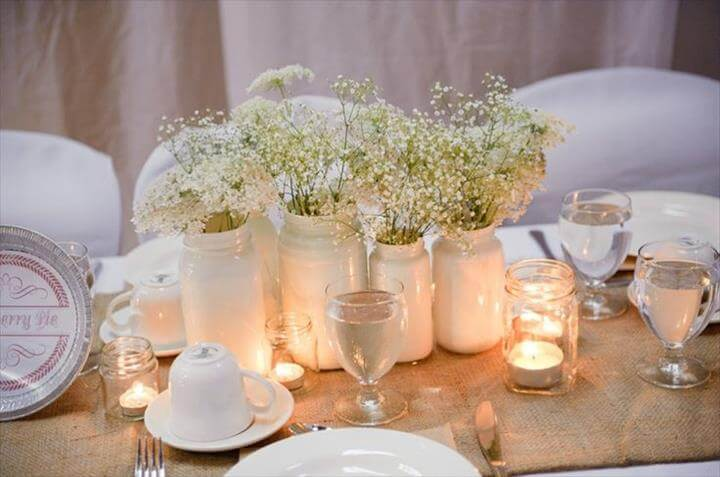 Mason Jar Centerpiece Wedding Baby Breath
