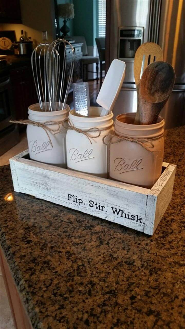 mason jar kitchen decor - mason jar centerpiece - rustic kitchen decor - Neutral Rustic Mason