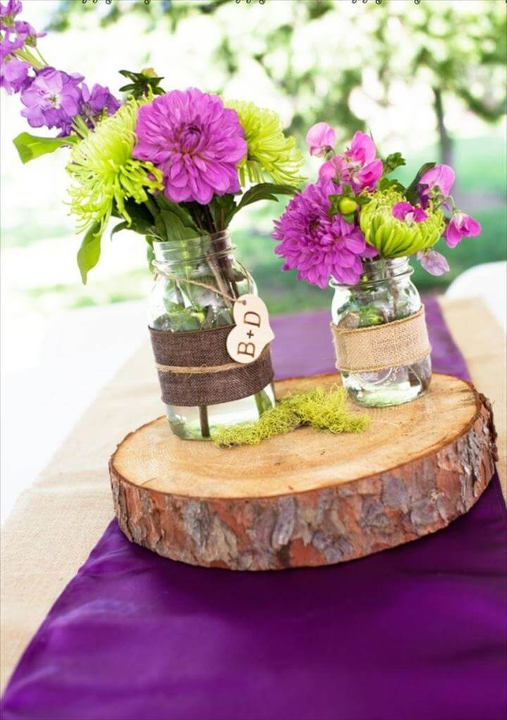 mason jar centerpieces purple, rustic purple wedding centerpiece idea, monogram mason jars, rustic
