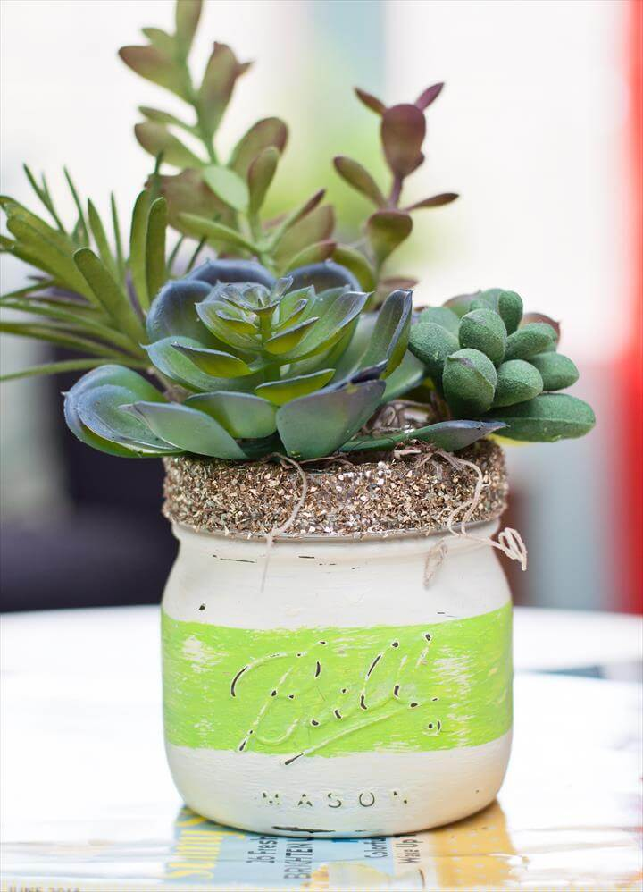 Use chalk paint and Mod Podge to create these gorgeous DIY mason jar succulent pots for