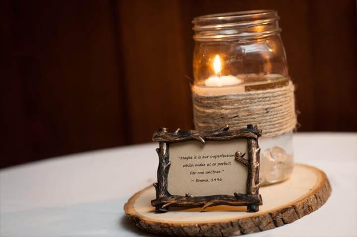 Mason Jar Tea Light Rustic Centerpiece