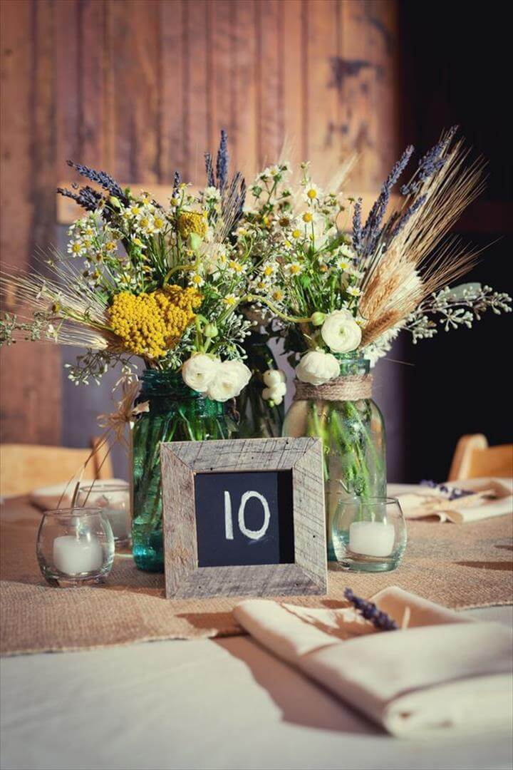 15 mason jar decor centerpiece ideas diy to make for Center arrangements for weddings