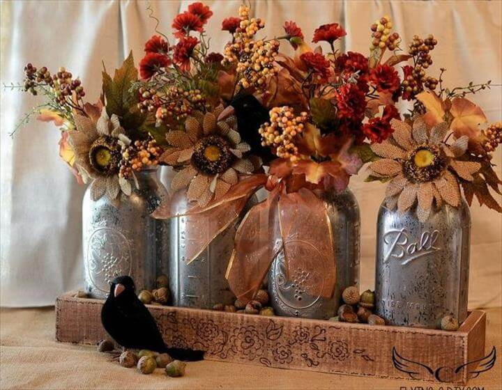 mercury mason jar centerpiece, crafts, mason jars, repurposing upcycling, seasonal holiday decor