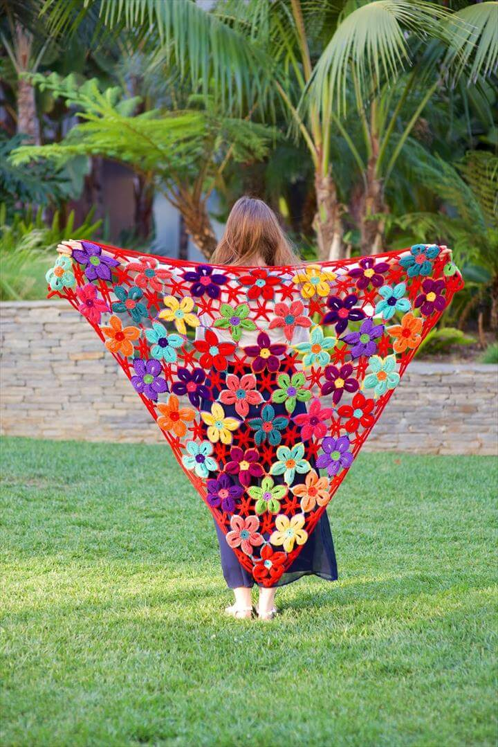Mexican Flower Motif Shawl