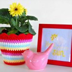 nice crochet flower pot cover