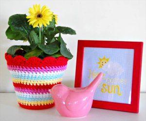 nice crochet flower pot cover