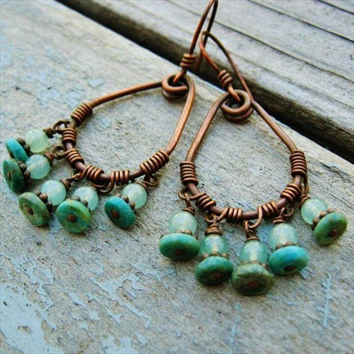 Turquoise and Aventurine Antiqued Copper Wire Wrapped Hoops with bead dangles earrings