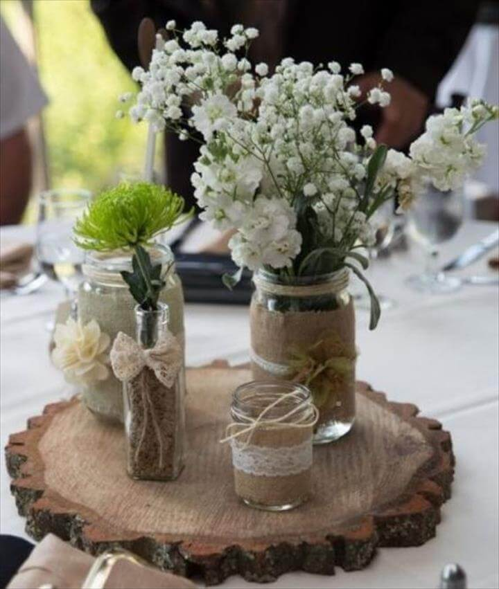 Rustic Mason Jar Wedding Centerpiece