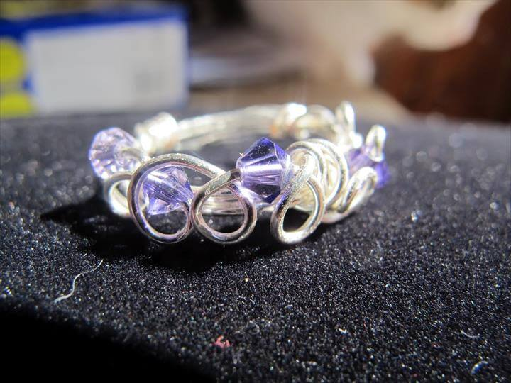 Silver wire wrapped rings with Swarovski crystals