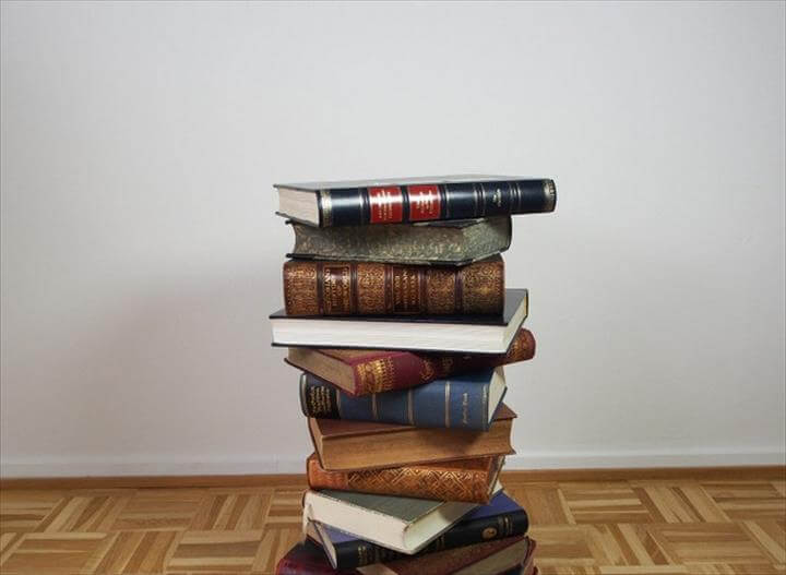 Pile Of Hardcover Books With Twisted Positions