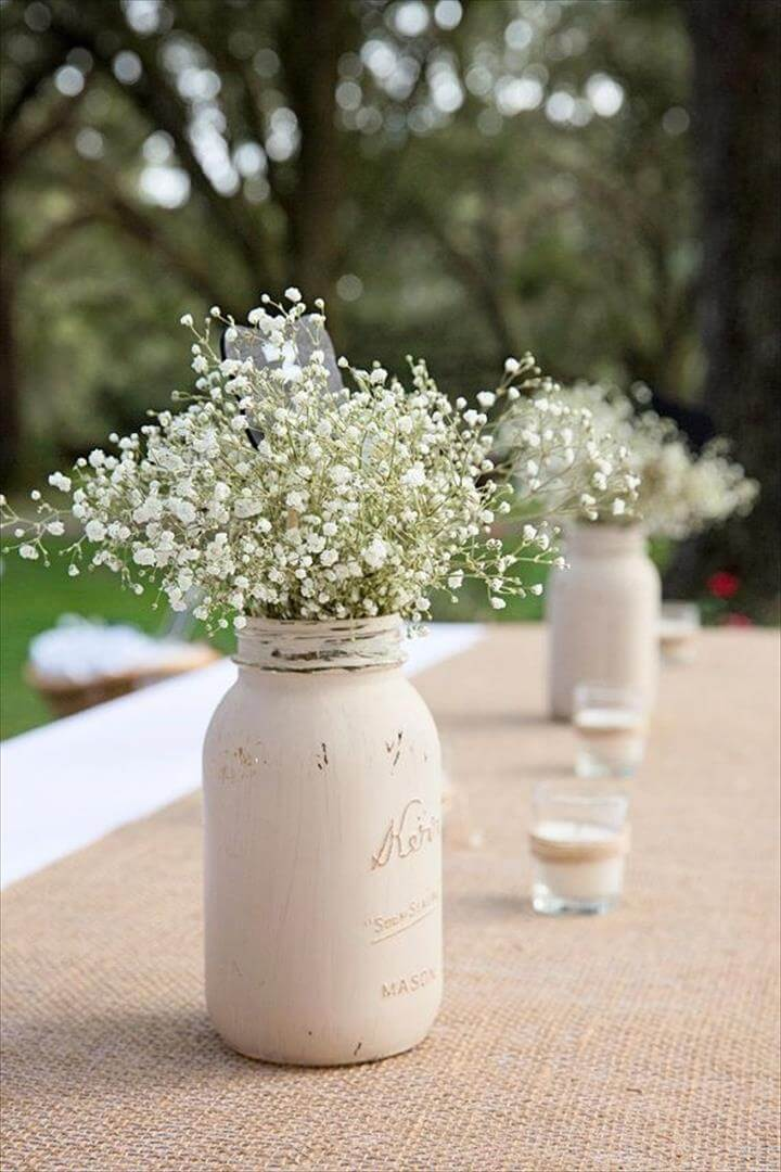 Distressed Mason Jar, Painted Mason Jar centerpiece, Rustic Wedding Decor, Rustic Mason Jar