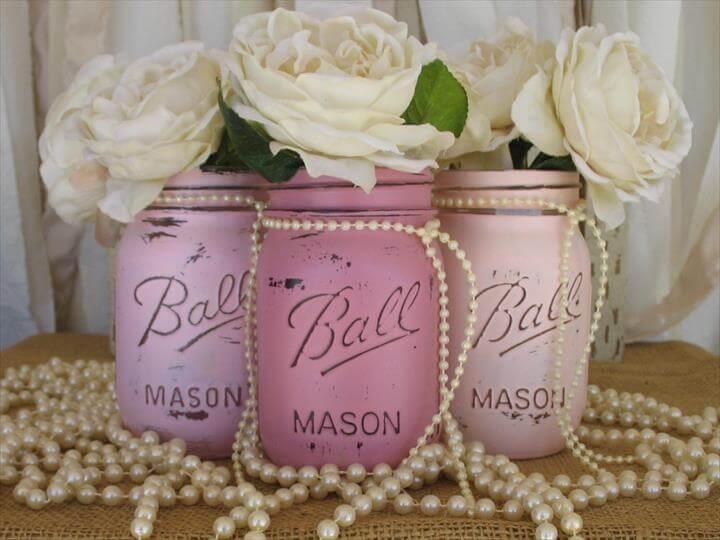 Set Of 3 Mason Jars, Painted Mason Jars, Pink Mason Jars, Home Decor, Holiday Decor, Country Home Decor, Pink Mason Jars