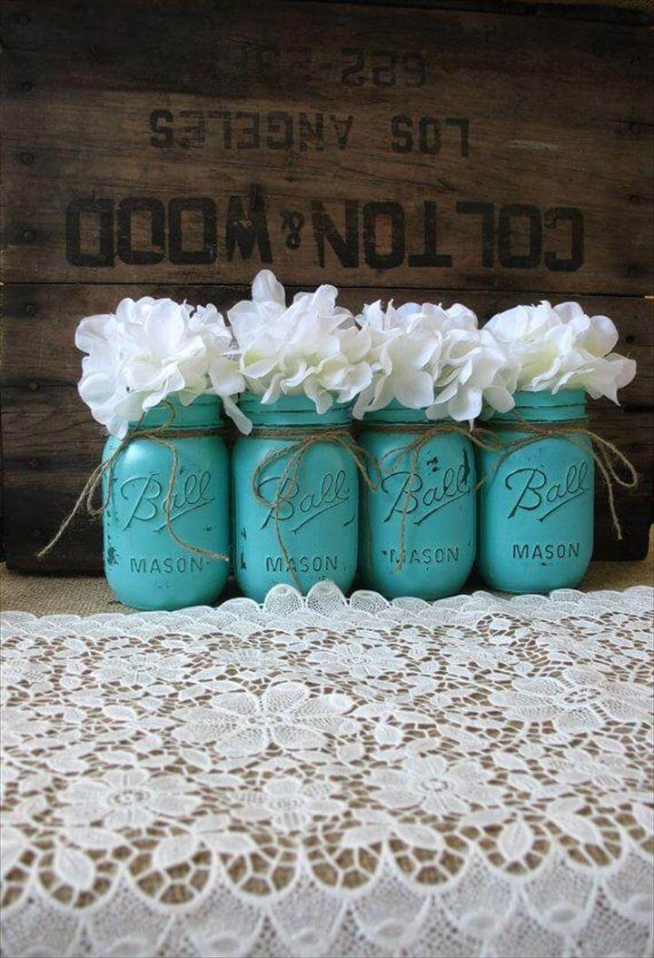 Mason Jars, Painted Mason Jars, Rustic Wedding Centerpieces, Party Decorations, Turquoise Wedding