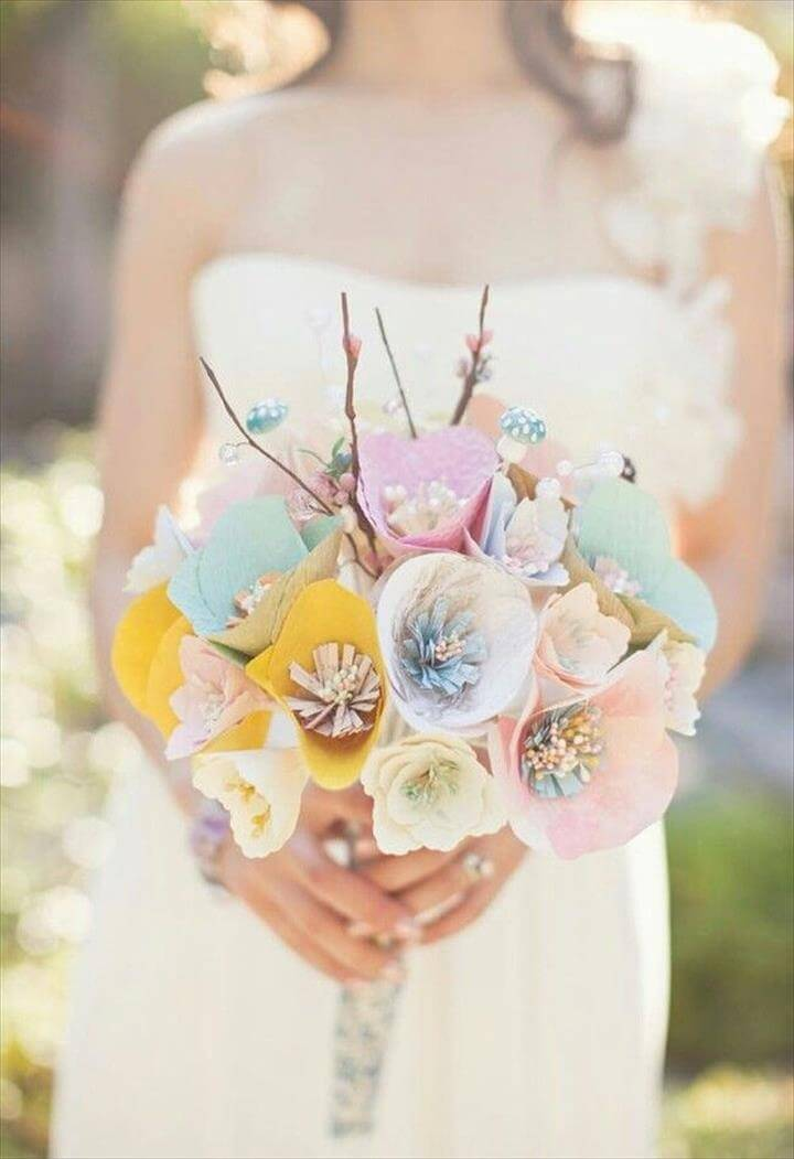 diy pastel paper flower bridal bouquet