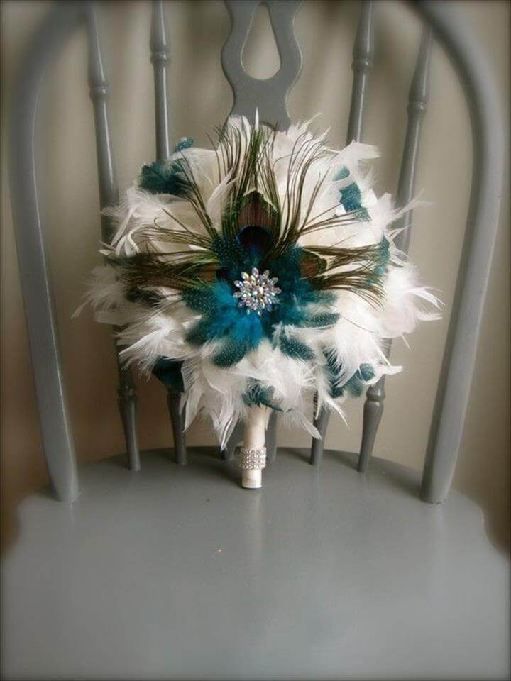 Peacock Feather blue and white Bouquet