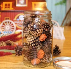 simply add pine cones to the jar