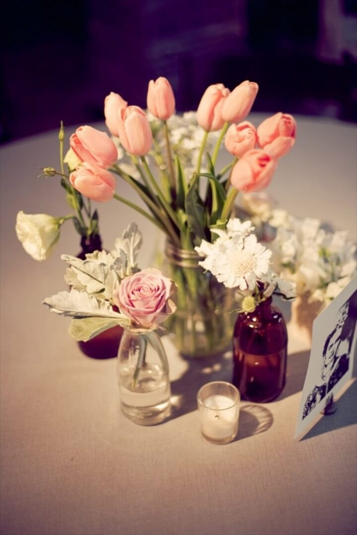 Pink Tulips in Mason Jar Wedding Centerpiece Ideas