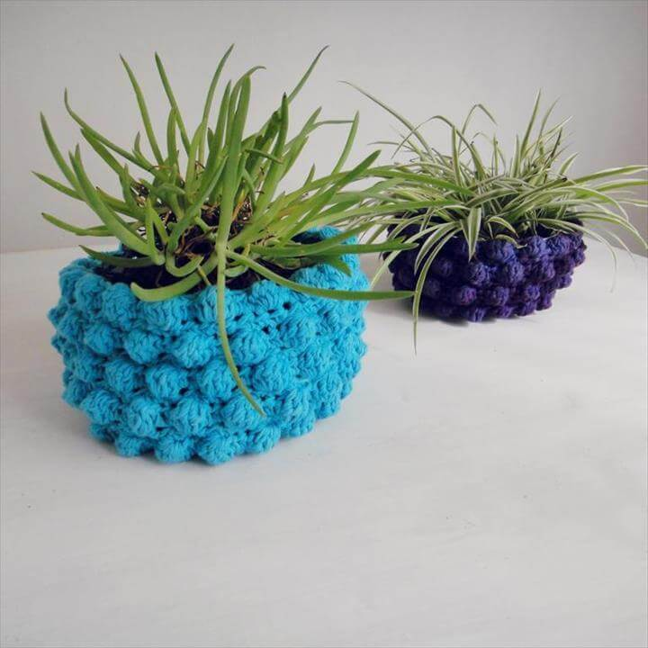 Pot Holder Basket Bubble Crochet Pattern