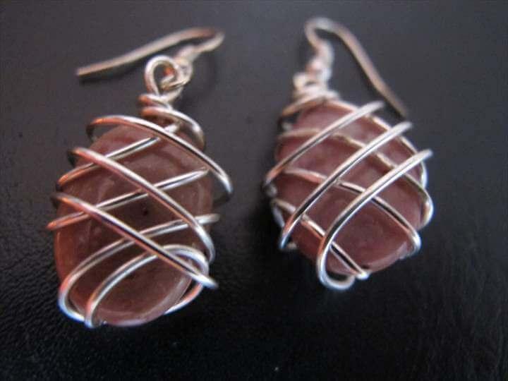 Silver wire wrapped rhodonite jewelry: necklace, earrings, bracelet jewellery set