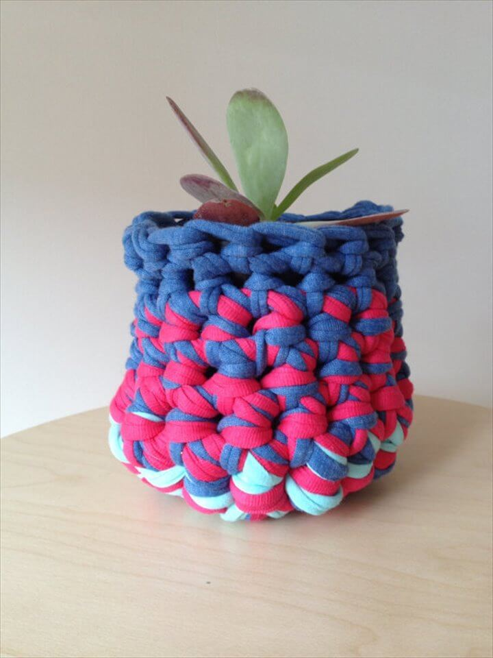 crochet pot plant cover