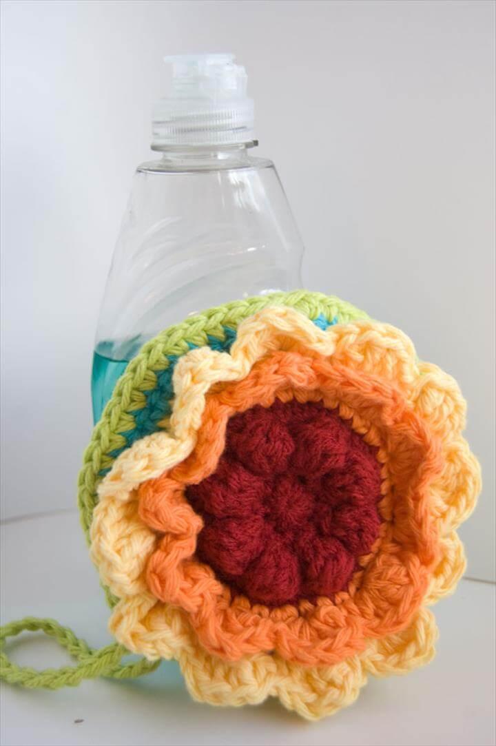 Rainbow flower crochet scrubby cloth