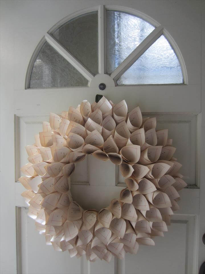 wreath made from old pages.