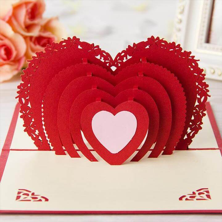 Red Heart Wedding Invitations 3d Handmade Cards Laser Cut