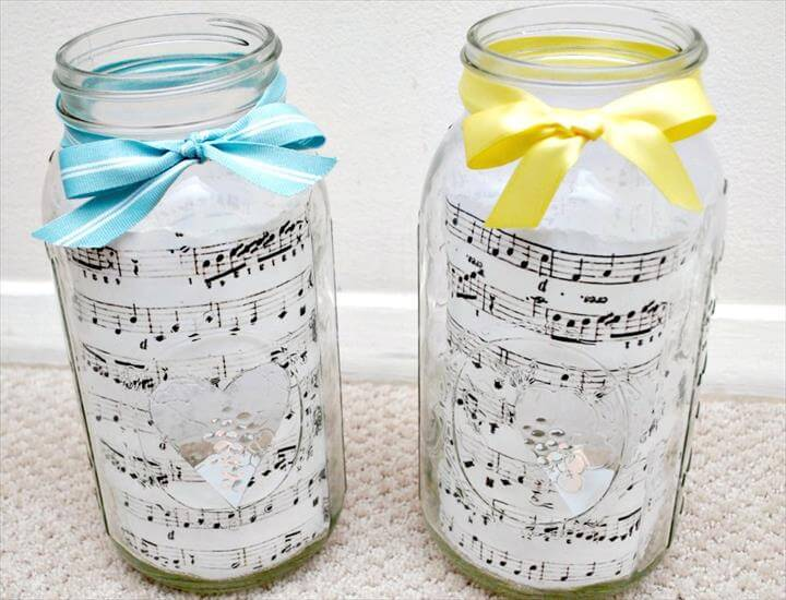 Sheet Music and Mason Jar Centerpieces