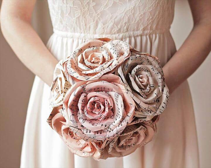 sheet music paper flower diy bridal bouquet