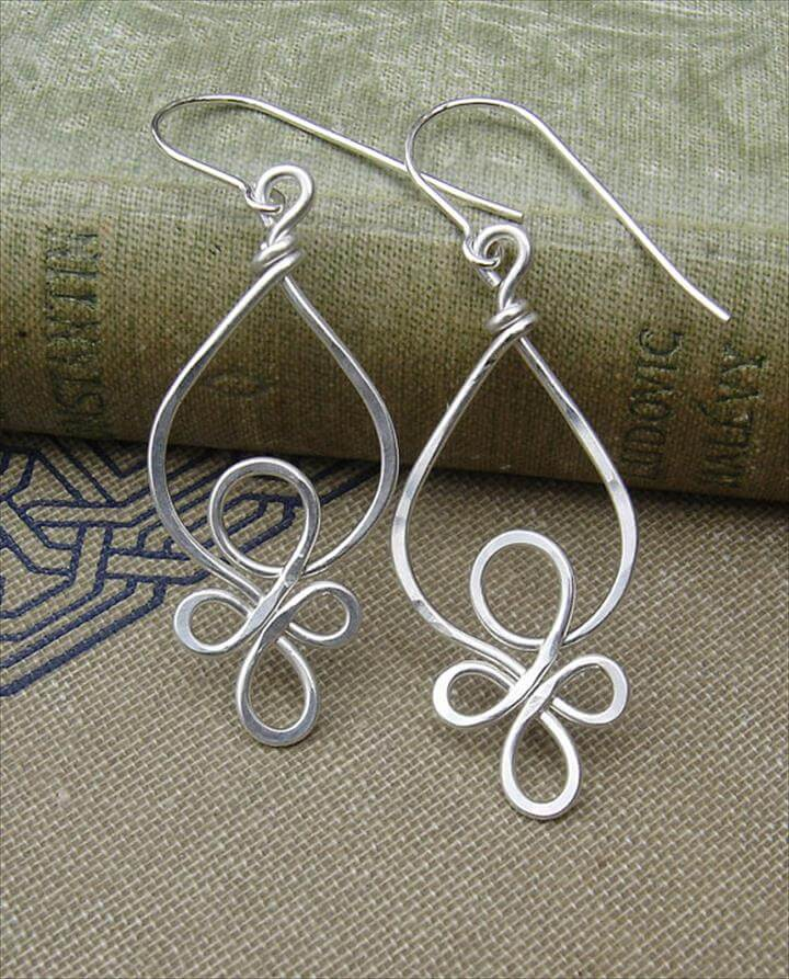 Silver Wire Earrings, Celtic Jewelry, Celtic Knot- Hammered Wire .