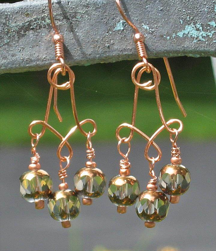Copper Wire Earrings Wire wrapped jewelry